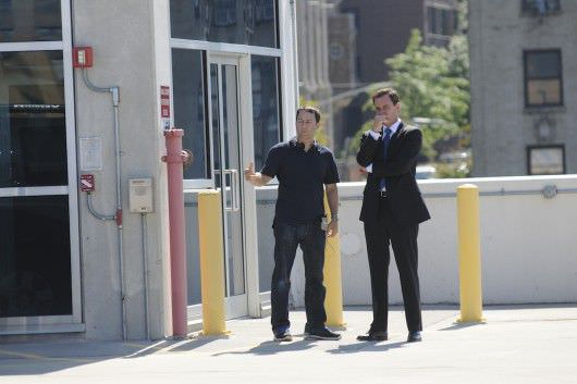 """Mark Goffman (left) during the filming of the episode """"Stealing Home."""""""