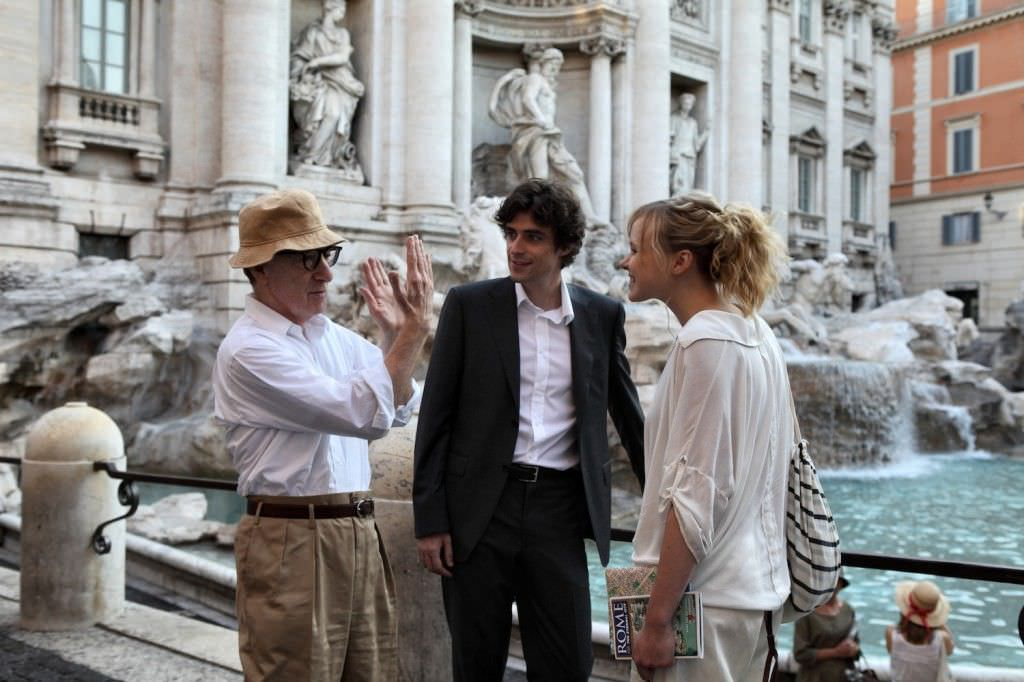 Woody Allen, Alessandro Tiberi, and Alison Pill