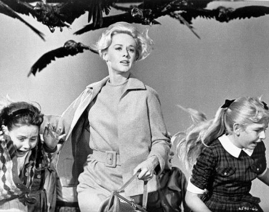Tippi Hedren doing her level best to escape The Birds. Photo Courtesy Universal Pictures