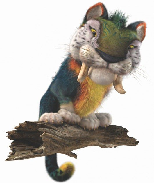 MACAWNIVORE- With the body of a small tiger, an over-sized head and the colorization of a Macaw Parrot, the Macawnivore is an imposing creature who towers over the Croods.