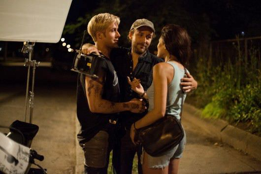 Ryan Gosling, Derek Cianfrance and Eva Mendes on the set of The Place Beyond the Pines. Courtesy of Focus Features