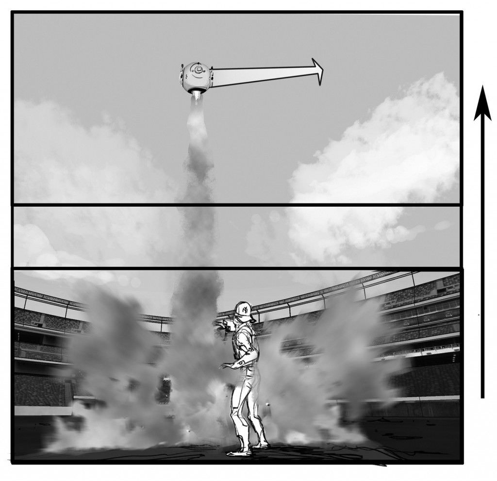 The drone takes off. Illustration by Phillip Norwood. Courtesy Universal Pictures.