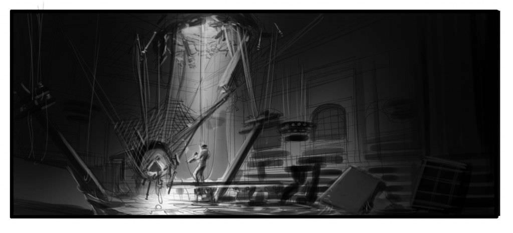 A wide shot of Jack entering the library. Illustration by Phillip Norwood