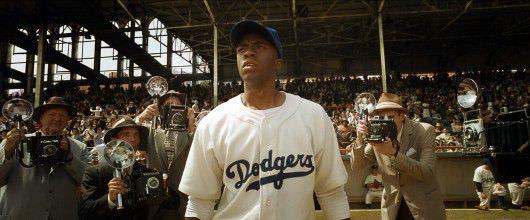 Chadwick Boseman as Jackie Robinson in '42.' Photo courtesy Warner Bros.