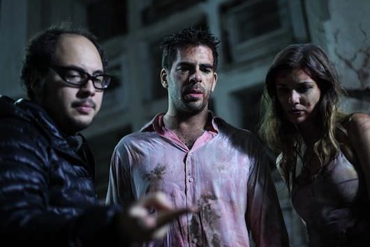 Director Nicolás López, Eli Roth and Natasha Yarovenko on the set of 'Aftershock'