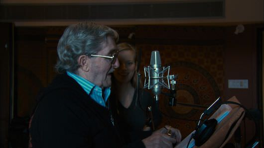 Sarah and her dad in the studio