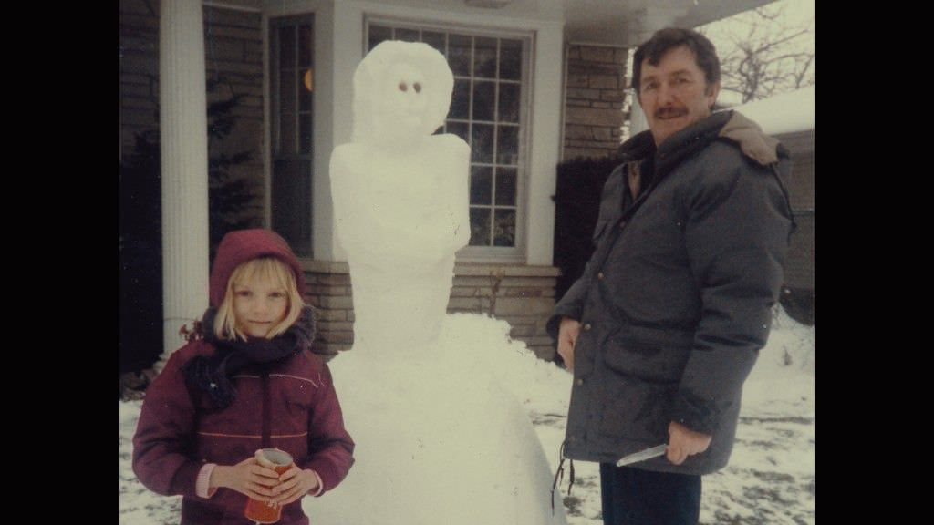 Sarah Polley, her dad, and a snowman