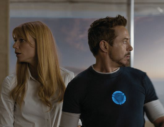 Tony and Pepper, moments before the Mandarin makes his presence felt. Courtesy Marvel Studios and Walt Disney Pictures