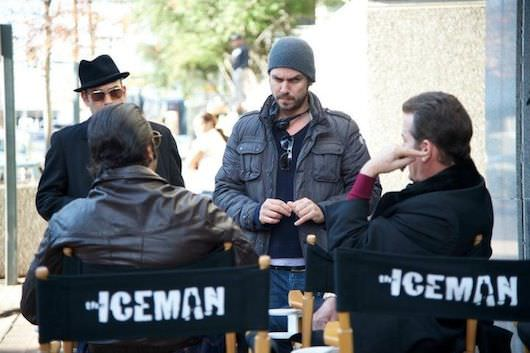 Ariel Vromen talks with his crew on the set of 'The Iceman'