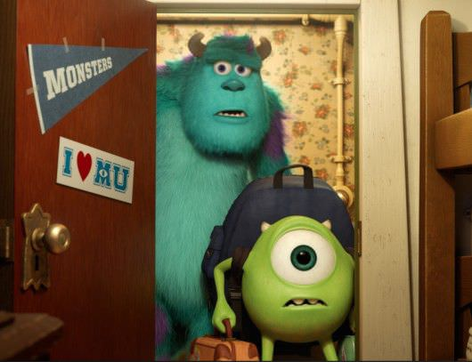 From left to right: Sullivan (John Goodman) and Mike (Billy Crystal) arrive at Monsters University. Courtesy Walt Disney Pictures/Pixar Animation