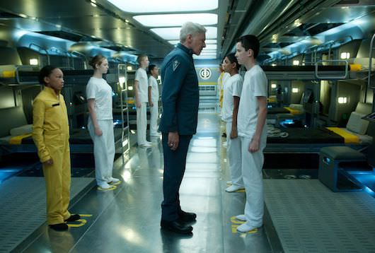 Villanueva illustrated this suit worn by Harrison Ford (center) in 'Ender's Game': Photo: Richard Foreman Jr., SMPSP © 2012 Summit Entertainment,