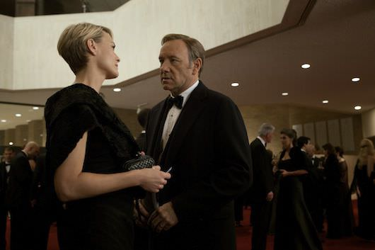 """Kevin Spacey and Robin Wright in a scene from Netflix's """"House of Cards."""" Photo credit: Melinda Sue Gordon for Netflix."""