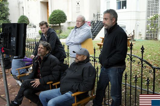 Clockwise, from far left, standing: executive producer Beau Willimon; unit production manager Don Hug; executive producer John Melfi; [seated] director Carl Franklin; and director of photography Eigil Bryld. Photo Credit: Patrick Harbron for Netflix
