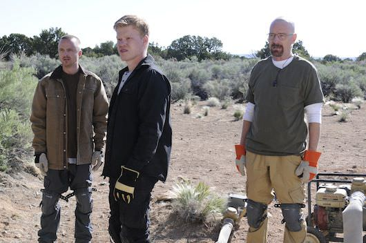 "Jesse Pinkman (Aaron Paul), Todd (Jesse Plemons) and Walter White (Bryan Cranston) - ""Dead Freight"" - Photo Credit: Ursula Coyote/AMC"