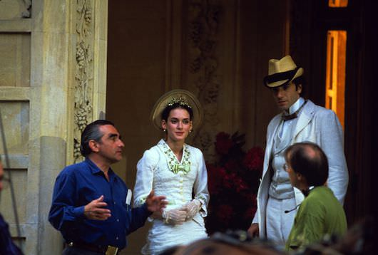 Scorsese on set with Winona Ryder and Daniel Day-Lewis. Courtesy NYFF.