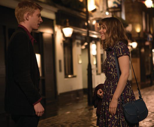 Doomhnall Gleeson and Rachel McAdams, as Tim and Mary, meet...again and again. Courtesy Universal Pictures