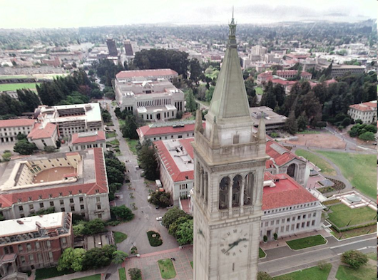 Berkeley's Campanelli tower rendered digitally, the precusor to 'The Matrix's photo real environments. Courtesy Paul Debevec
