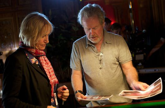 Yates with longtime collaborator Ridley Scott, on the set of 'The Counselor.' Courtesy Twentieth Century Fox Films.