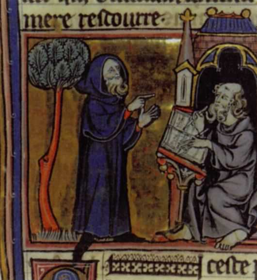 "Merlin reciting his poems, as illustrated in the French book from the 13th century ""Merlin"", by Robert de Boron."