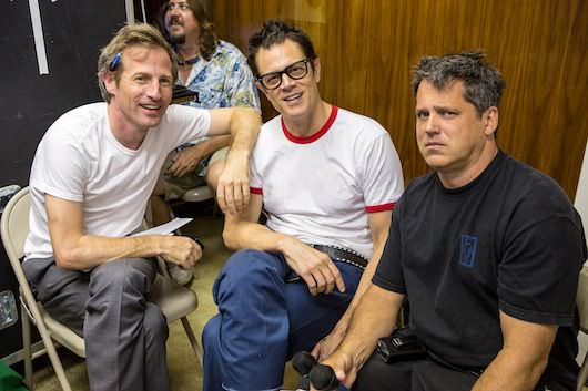 Left to right: Producer/Co-Writer Spike Jonze, Producer/Co-Writer Johnny Knoxville (as Irving Zisman), Producer/Co-Writer/Director Jeff Tremaine on the set of JACKASS PRESENTS: BAD GRANDPA, from Paramount Pictures and MTV Films. BG-03560R