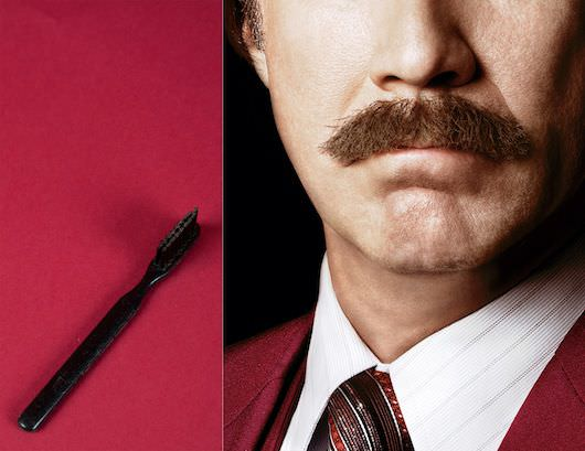 "A well-groomed mustache is part of anchorman Ron Burgundy's (Will Ferrell) signature look. His mustache brush will be displayed in ""Anchorman: The Exhibit.""  Photo: Courtesy Paramount Pictures; mustache brush: Sarah Mercier/Newseum/Courtesy DreamWorks Studios"