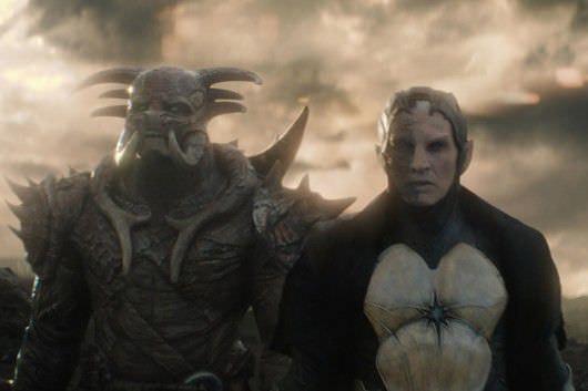 Kurse (Akinnuoye-Agbaje) and Malekith (Christopher Eccleston). Courtesy Marvel and Walt Disney Pictures.