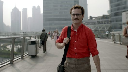 Theodore navigates his clean, open world. This scene was filmed in Shanghai, China. Courtesy Warner Bros. Pictures.