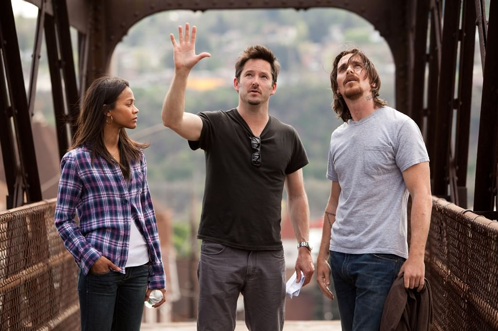 Zoë Saldana, director Scott Cooper and Christian Bale on location in Braddock. Courtesy Relativity Media.