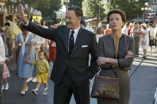 Walt Disney (Tom Hanks) and his hard to charm Poppins author P. L. Travers. Courtesy Walt Disney Pictures.