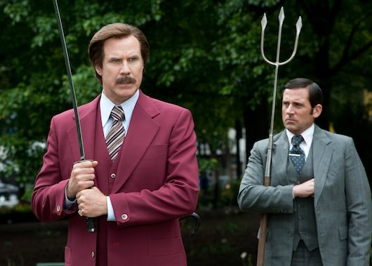 (Left to right) Will Ferrell is Ron Burgundy and Steve Carell is Brick Tamland in ANCHORMAN 2: THE LEGEND CONTINUES to be released by Paramount Pictures. A2-16378R