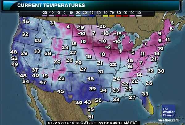Current Temperatures Courtesy Weather.Com
