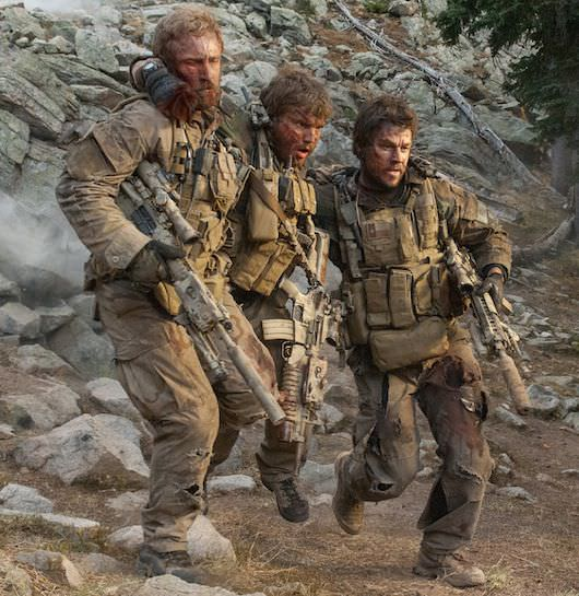 "(L to R) Matt ""Axe"" Axelson (BEN FOSTER), Danny Dietz (EMILE HIRSCH) and Marcus Luttrell (MARK WAHLBERG) in ""Lone Survivor."" Courtesy Universal Pictures"