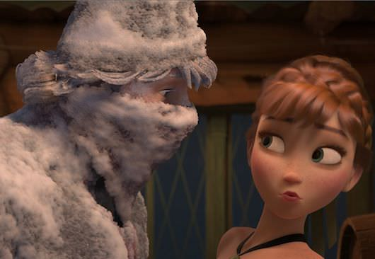"Fearless optimist Anna meets rugged—and snow-covered—mountain man Kristoff for the first time in Walt Disney Animation Studio's ""Frozen,"" which hits theaters nationwide Nov. 27, 2013. ©2013 Disney. All Rights Reserved."