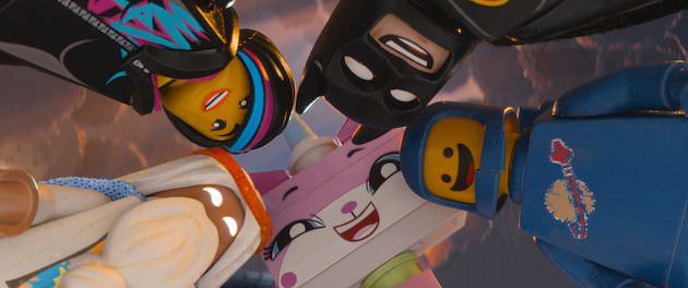 Clockwise l-r: Vitrivius (Morgan Freeman), Wyldstyle (Elizabeth Banks), Benny (Charlie Day), and Unikitty (Alison Brie). Courtesy Warner Bros.