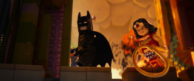 Lego Batman (Will Arnett) and Lego Wonder Woman (Cobie Smulders.) Courtesy Warner Bros. Pictures.