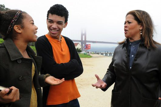 Jaz Sinclair, Justice Smith and Anna Deavere Smith. Courtesy of HBO