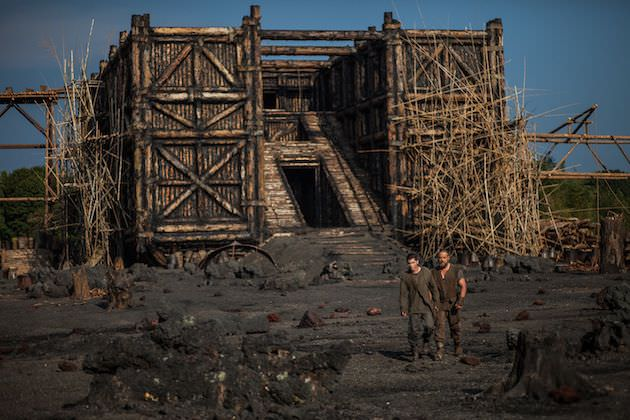 A year of planning and six months of hard work created the ark, using wood, tar, volcanic rock, steel, foam, and more. Courtesy Paramount Pictures.