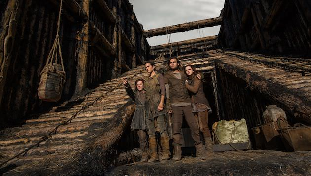(Left to right) Leo McHugh Carroll is Japheth, Jennifer Connelly is Naameh, Douglas Booth is Shem and Emma Watson is Ila. The ramp leads animals to the three tiered ark, with mammals on the bottom, reptiles and insects in the middle, and birds on top. Courtesy Paramount Pictures.