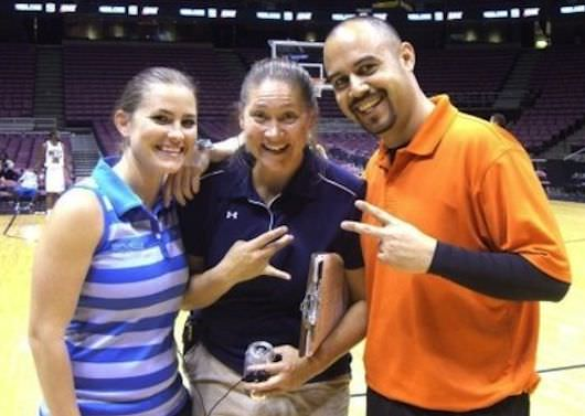 Aimee McDaniel of Game Changing Films with company co-founder Jessi Moore (left), and basketball coordinator Hernando Planells, Jr. on the set of Just Wright (2010)