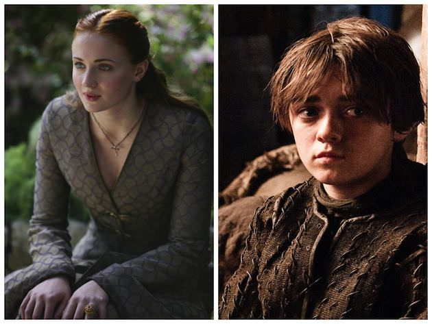 Sansa Stark (Sophie Turner) & Arya Stark (Maisie Williams). Courtesy HBO.
