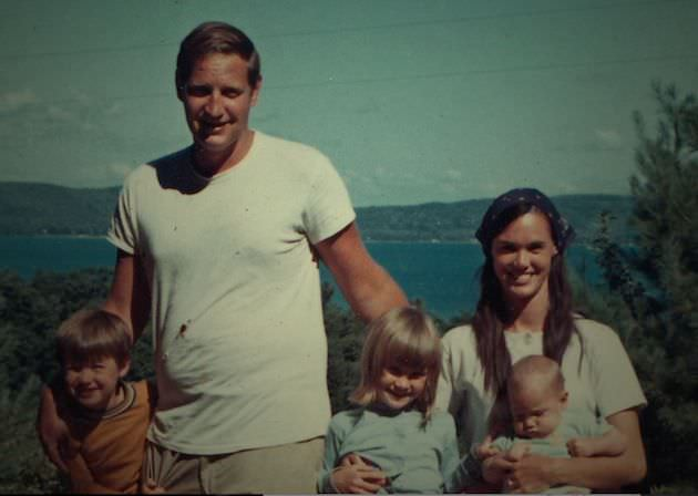 John and Bonnie Raines with their three children in Glen Lake, Michigan circa August 1969. Photographer- Raines family