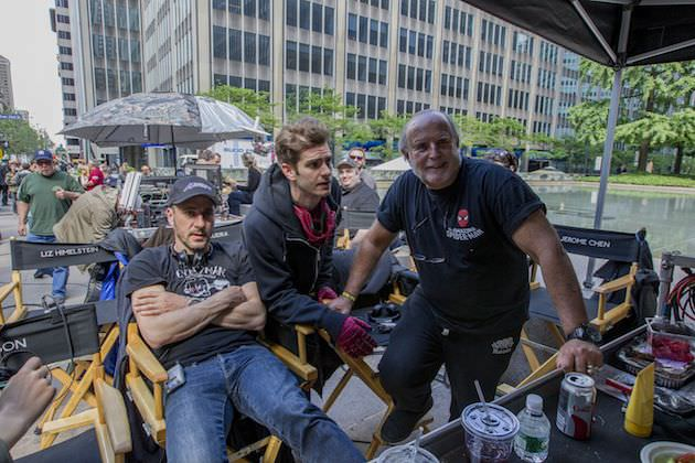 Matthew Tolmach, Andrew Garfield and Avi Arad on the set in New York City. Courtesy Sony Pictures.