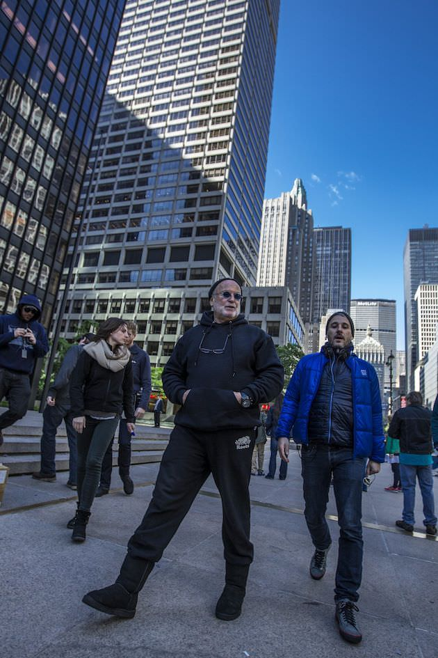 Avi Arad, left, and Matt Tolmach walk through New York City during production. Courtesy Sony Pictures.