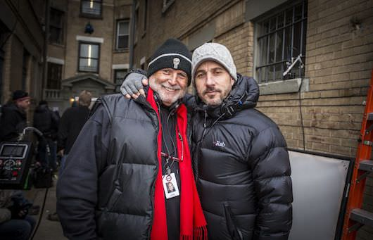 """Producer Avi Arad, left, and Producer Matt Tolmach on the set of Columbia Pictures' """"The Amazing Spider-Man 2,"""" starring Andrew Garfield and Emma Stone."""