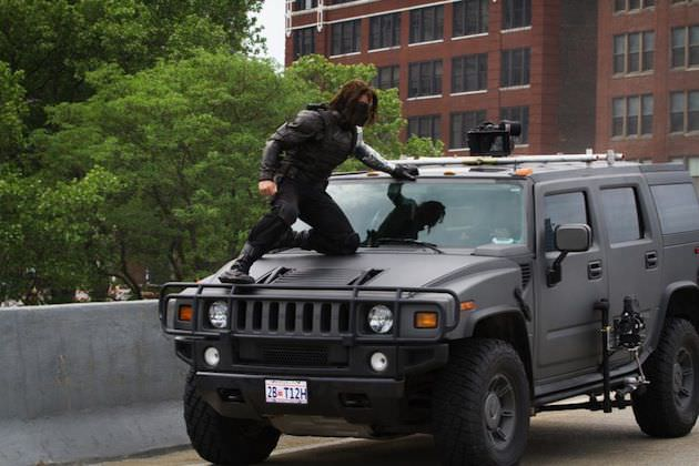 Sebastien Stan as the Winter Soldier, filming on Cleveland's Memorial Shoreway. Courtesy Walt Disney Pictures/Marvel.