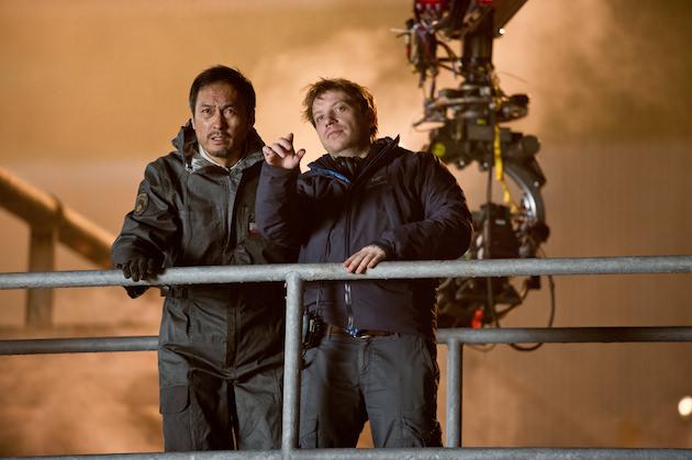 Ken Watanabe and Gareth Edwards. Courtesy Warner Bros. Pictures.