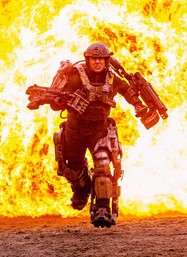 Tom Cruise as Cage, running in his heavy, and very real, ExoSuit.