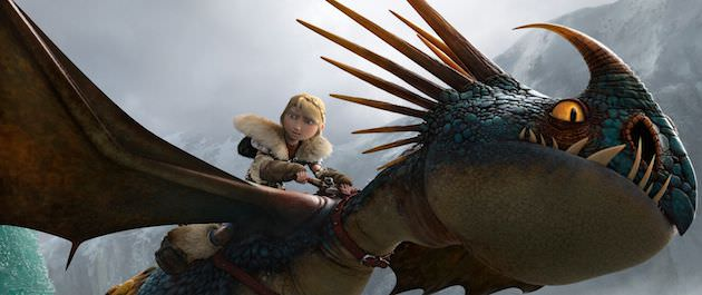 Astrid (America Ferrara) and her faitfhul dragon. Courtesy DreamWorks Animation, 20th Century Fox.