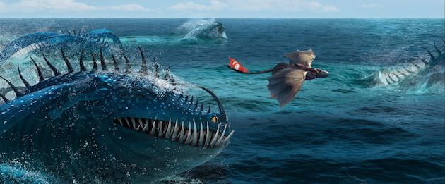 Hiccup and Toothless evade fearsome creature. Courtesy DreamWorks Animation and 20th Century Fox.