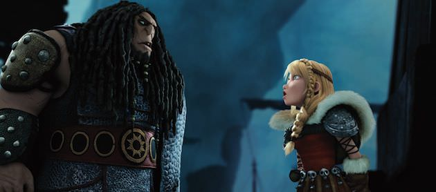 Astrid (America Ferrara), Hiccup's best human friend, confronts Drago (Djimon Hounsou). Courtesy DreamWorks Animation and 20th Century Fox.